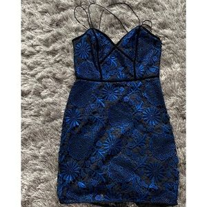 Guess by Marciano Blue and Black Lace Party dress